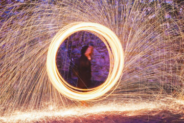 Letter from the Editor - Picture shows blurred timestop photo of someone spinning a sparkler in a circle with sparks flying off